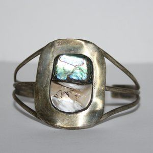 Vintage sterling silver cuff bracelet with shell